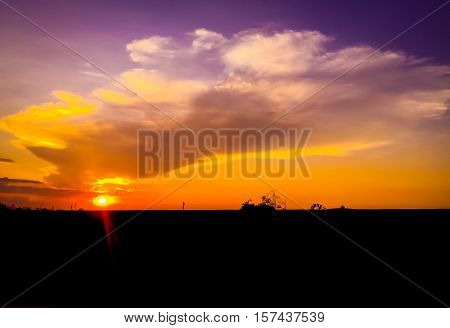 sunset landscape with beautiful cloud along the road