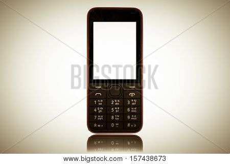 Mobile Phone old fashion style isolated on white background.