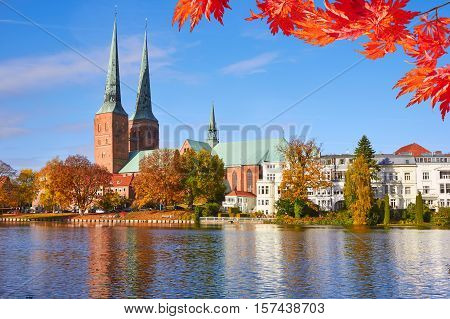 Lubeck Old Town Reflected In Trave River, Old Town, Germany