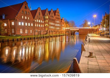 View Of Salzspeicher (salt Storehouses) Of Lubeck At Night