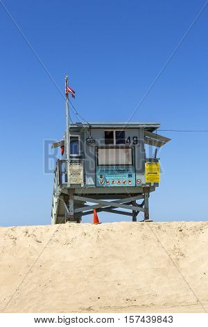 Empty Beach Hut At Empty Beautiful Beach In Redondo Beach