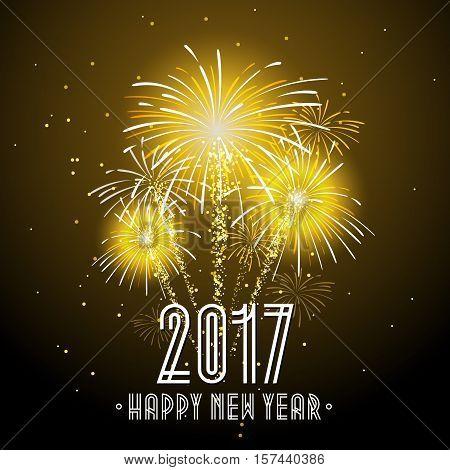 2017 Happy New Year Fireworks Night Background. Happy New Year Celebration Background Banner. Vector illustration