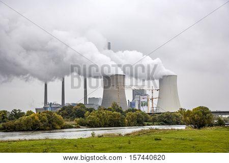 GROSSKROTZENBURG GERMANY - OCT 6 2008: Grosskrotzenburg power station Main river Germany Hessen