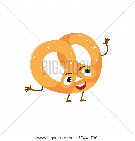 Funny freshly baked pretzel character, cartoon style vector illustration isolated on white background. Cute pretzel character with eyes, legs, and a wide smile
