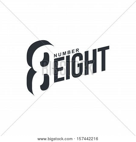 Black and white number eight diagonal logo template, vector illustrations isolated on white background. Graphic logo with diagonal logo with number eight