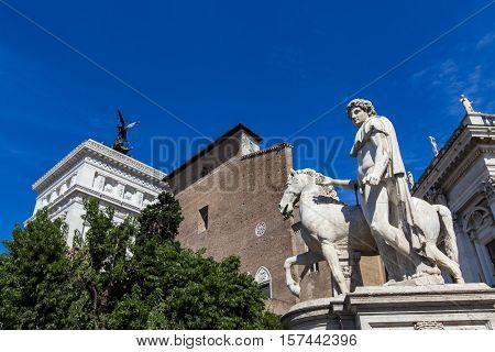 Statue Of Castor At Piazza Del Campidoglio In Rome