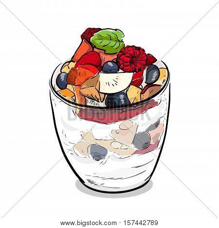 Fruit Parfait Desert Ice Cream. A hand drawn vector illustration of a fruit parfait.