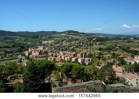 Viev of San Gimignano city and surrounding landscape of Tuscany Italy. poster