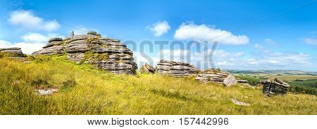 Panoramic view of Bellever Tor in Dartmoor national park in southwest England