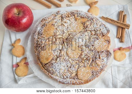 Home made apple pie on a table