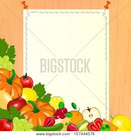 Thanksgiving menu. Paper with harvest of fruits and vegetables. Paper menu on wooden background. Vegetarian menu.