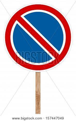 Prohibitory traffic sign isolated on white - No parking