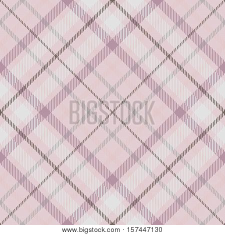 Seamless tartan plaid pattern. Checkered fabric texture print in shades of faded pink, grey & white.