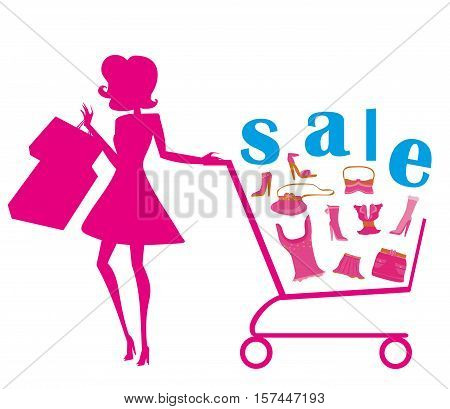 woman silhouette and fashion sale , vector illustration