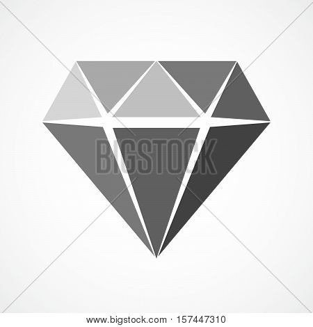 Simple diamond icon in flat design. Vector illustration. Gray sign of diamond isolated on white background.