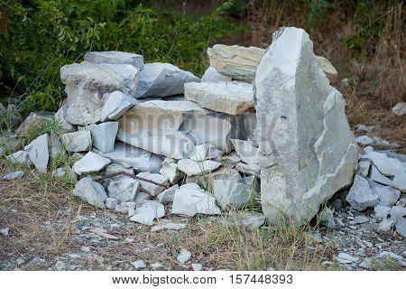 pile group stone of limestone. Rocks decoration