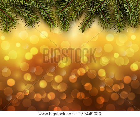 Christmas abstract background orange blinking bokeh with pine tree.
