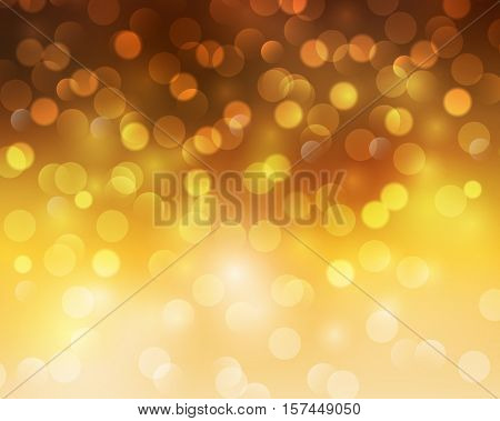 Christmas abstract background orange blinking bokeh.