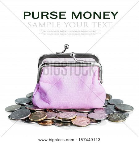 pink purse and coins isolated on white. delete text