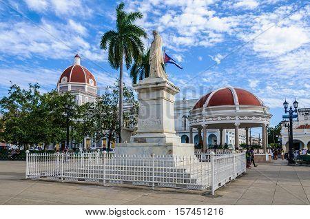 CIENFUEGOS, CUBA - MARCH 22, 2016: Jose Marti Park the UNESCO World Heritage main square of Cienfuegos Cuba
