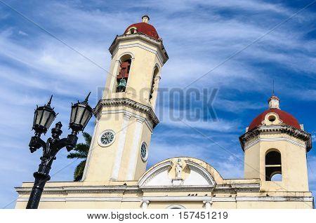 The Cathedral In Jose Marti Park In Cienfuegos, Cuba
