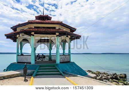 CIENFUEGOS, CUBA - MARCH 22, 2016: Small house on the seaside in Punta Gorda Cienfuegos Cuba