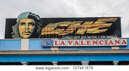 CIENFUEGOS, CUBA - MARCH 22, 2016: Billboard with the face of Che Guevara the revolutionary in Cientfuegos Cuba