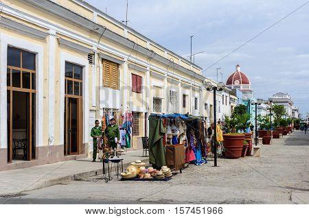 CIENFUEGOS, CUBA - MARCH 22, 2016: Street market selling souvenirs in the center of Cienfuegos Cuba