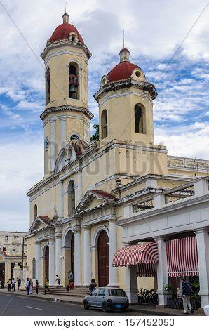 CIENFUEGOS, CUBA - MARCH 22, 2016: Purisima Concepcion Cathedral in Jose Marti Park the UNESCO World Heritage main square of Cienfuegos Cuba