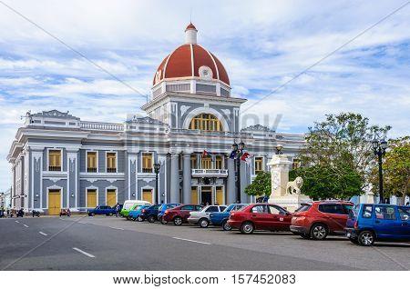CIENFUEGOS, CUBA - MARCH 22, 2016: City Hall in Jose Marti Park the UNESCO World Heritage main square of Cienfuegos Cuba