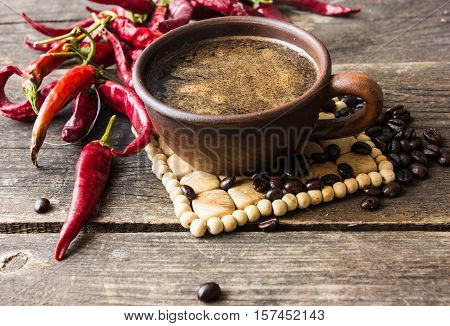 black coffee with pepper spicy. wooden background. White background