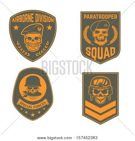Set of military emblems templates. Skull in paratrooper beret. Skull in soldier helmet.  Design element for logo, label, emblem, sign, brand mark. Vector illustration.