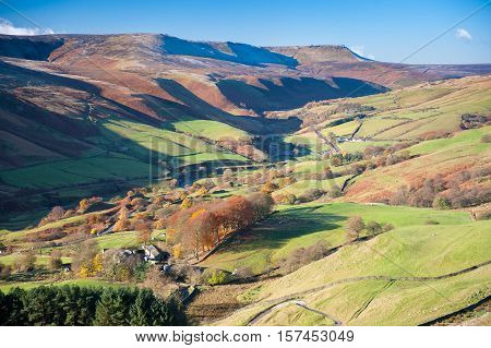View of Woodlands Valley and Snake Pass, Peak District National Park, Derbyshire, UK. Image taken from Rowlee Pasture near Edale, Derbyshire, Great Britain.