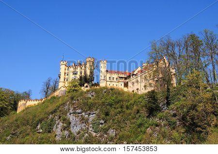 Hohenschwangau Castle on sunshine day, Bavaria, Germany