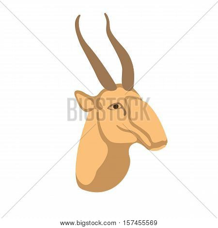 antelope saiga head  vector illustration style Flat
