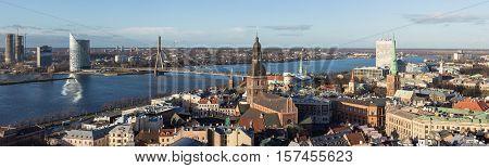 Riga Latvia - December 5 2013: Panorama of the city center and the river Daugava