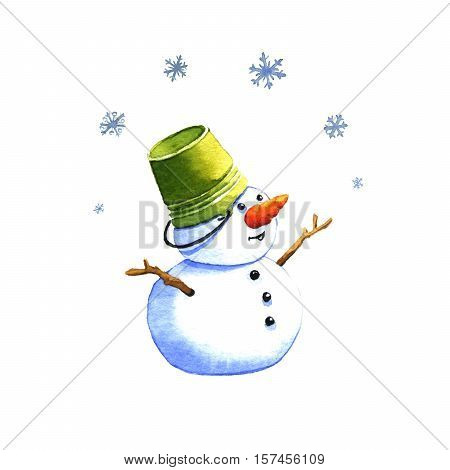 Snowman watercolor illustration on a white background
