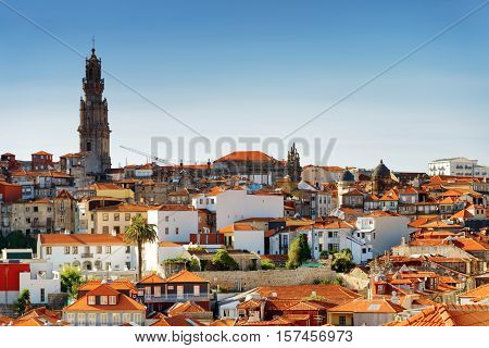 Colored Facades And Roofs Of Houses In Porto, Portugal.