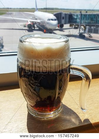Beer Glass With Foam In Prague