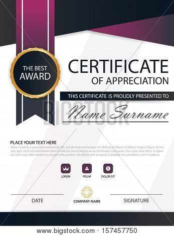 Purple black Elegance horizontal certificate with Vector illustration white frame certificate template with clean and modern pattern presentation