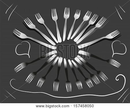 Drawn vector fork for eating form oval on a dark gray background line pattern signboard