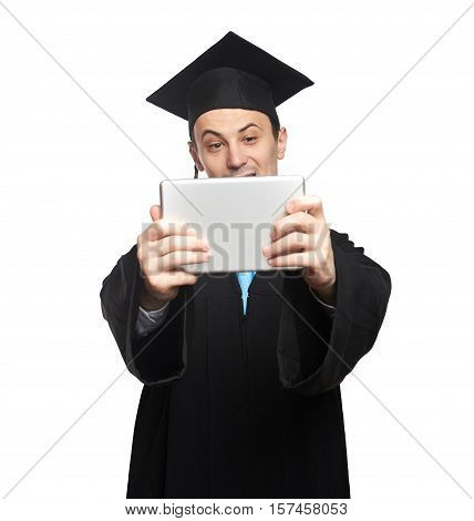 Graduated Student Look At Tablet