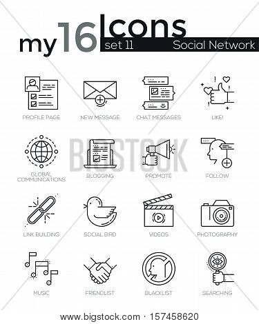 Line icons set. Trendy Modern Flat thin linear stroke vector Social Media and Social Network Objects concept. For website graphics, Mobile Apps, Infographics design, Brochures. Outline pictogram pack.