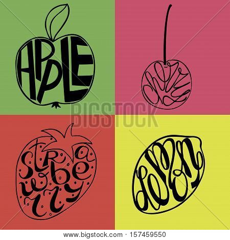 Hand lettering made inside fruits Apple, Lemon, Strawberry, cherry with colorful background