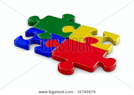 Puzzle on white background. Isolated 3D image poster
