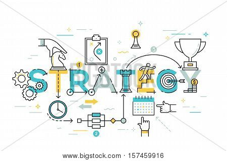 Thin line flat design banner of business and marketing strategy. Modern vector illustration concept of word strategy for website and mobile website banners, easy to edit, customize and resize.
