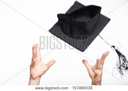 Catching Black Student Graduation Hat