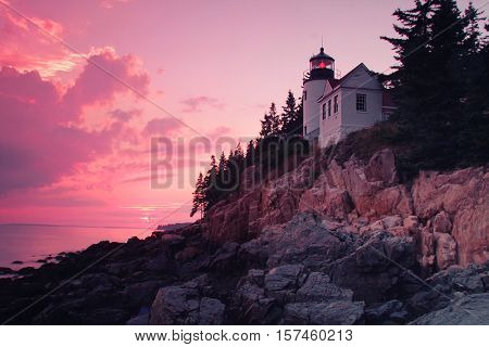 Sunset on bass Harbor lighthouse in Acadia national park, on mount desert island, Maine