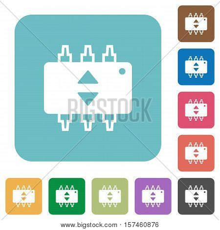 Hardware fine tune flat icons on simple color square background.