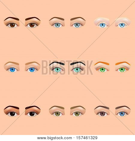 Female eyes and brows icons detailed realistic vector set